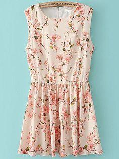 Apricot Sleeveless Floral Pleated Chiffon Dress - Fashion Clothing, Latest Street Fashion At Abaday.com