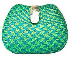 Pochette modello Clutch in paglia e madreperla Rachel verde - 20X11X5 cm