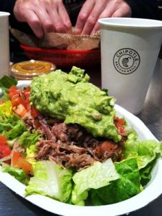 chipotle whole30 carnitas, lettuce, guacamole and mild salsa