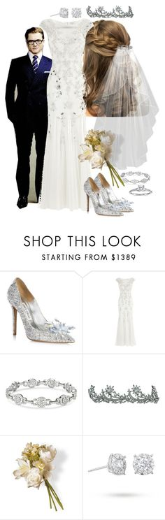 """Getting married to Eggsy"" by werewolf-gurl ❤ liked on Polyvore featuring Jimmy Choo, Monsoon, Jennifer Behr, National Tree Company, Masquerade and Blue Nile"