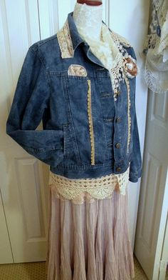 Gypsy Victorian boho demin upcycled jean by MarionberryCottage, $49.00
