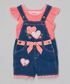 Nannette Girl Orange Polka Dot Top & Blue Denim Heart Shortalls - Girls | zulily