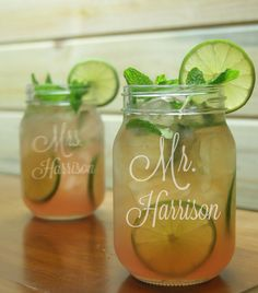 Mr Mrs Mason Jar Glass / Personalized / Engraved / Etched / Wedding Glasses / Gifts / Set of 2 / 48 DESIGNS / Add Your Date or Name
