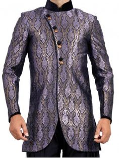 Purple Silver Color Sherwani