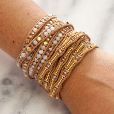 Golden Shadow Scalloped Wrap Bracelet on Beige Leather - Chan Luu