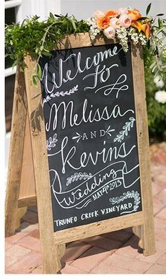 chalkboard welcome sign // www.chrisandjennphotos.com | allure bridals blog