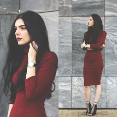Holynights Claudia - Rosewholesale Turtle Neck Midi Dress, Ego Lace Up Booties - Maroon Classy Outfits, Stylish Outfits, Fall Outfits, Cute Outfits, Glam Rock, Dark Fashion, Fashion Beauty, Fashion Blogs, Grunge
