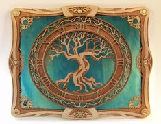 """Age of Oak"" is crafted from six layers of hand-finished, laser-cut wood with ornamental brass screws that envelope a sheet of stained glass. Each piece custom made. J. Elliott Designs. -- So gorgeous! So ordering one for my dad's birthday gift!"