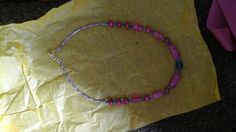 Pink & blue glass necklace for miss Clint , may 2015