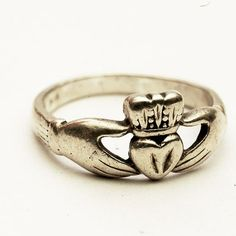 Vintage Irish Claddagh Ring Sterling Silver Ring Size by Spoonier wedding band