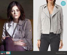 Aria's grey moto jacket on Pretty Little Liars.  Outfit Details: https://wornontv.net/59258/ #PLL