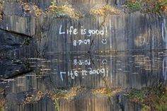 A Abandoned Black Granite Quarry left with a spray painted memory