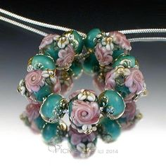 VICKIE LEE Lampwork Beads ~  Teal & Fuchsia Raised Floral Rounds             SRA #Lampwork