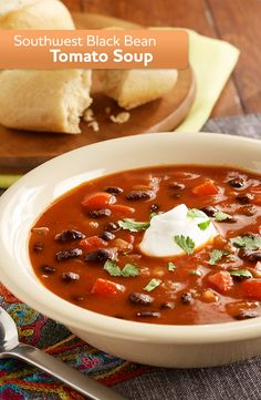 Our Southwest Black Bean Soup, made with diced tomatoes, beef broth and meatballs, is easy and delicious. Make it tonight!