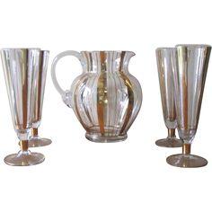 Vintage Set of Pilsner Glasses with Matching Pitcher - Gold Stripe at WhimsicalVintage