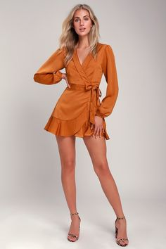 The Lulus Lilya Rust Orange Long Sleeve Satin Wrap Dress is all about easy elegance! Satiny wrap dress has a surplice bodice, long sleeves, and ruffled skirt. Rust Orange Dress, Orange Skirt, Orange Dress Outfits, Black Satin Mini Dress, Brown Outfit, Wrap Shirt, Satin Dresses, Short Sleeve Dresses, Long Sleeve