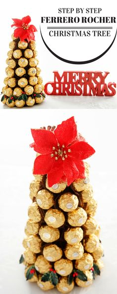 Make this Ferrero Rocher Chocolate Centrepiece for the Festive table this Christmas. #christmas #chocolate #DIY