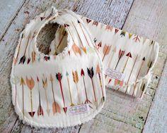 Baby Bib and Burp Cloth Set - Arrow Bib and Burp Cloth - Tribal Bib and Burp Clo - Baby Shower Gift