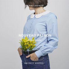 La souplesse du volume et la légèreté des volants rendent cette blouse idéale pour un look féminin et vaporeux ! Un joli col claudine à feston ou un col à froufrou à réaliser dans la même matière ou en galon brodé, un brin rétro. Un style affirmé grâce aux poignets boutonnés et aux bas de manches froncées. Ce patron offre deux versions de cols. #prettypatron #prettymercerie #blouseeulalie #mercerieenligne #tissu #sewingpattern #patrondecouture Coat Pattern Sewing, Sewing Patterns, Pretty Mercerie, Blog Couture, Coats For Women, Bomber Jacket, Women's Coats, Sleeves, Beautiful
