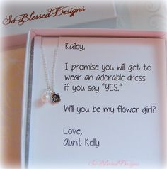 FLOWER GIRL necklace, flower girl gift, little girls necklace, flower girl card, will you be my flower girl, flower girl invitation, personalized necklace for flower girl or junior bridesmaid Such a sweet little necklace for your flower girl or junior bridesmaid! She will love this dainty sterling silver flower charm. Ive also added a freshwater pearl for a special touch. You choose whether you would like a white or pink pearl. Attached to a 14 inch sterling chain which is the perfect length…