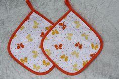 Kochutensilien - Topflappen orange weiß Schmetterling Küche Grillen - ein Designerstück von trixies-zauberhafte-Welten bei DaWanda