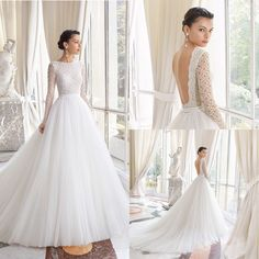 Raffinatissimo abito da sposa principesco con bustino in pizzo con manica lunga… Refined princely wedding dress with lace bustier with long sleeves and deep neckline on the back combined with a wide tulle skirt. Amazing Wedding Dress, Top Wedding Dresses, Bridal Dresses, Wedding Gowns, Wedding Dress With Pockets, Backless Wedding, Mermaid Dresses, Bridal Collection, Lace Dress
