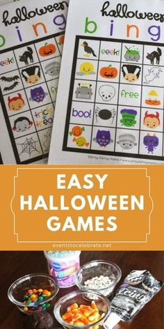 These activities would be perfect for a family Halloween party, a preschool Halloween party or even a younger Elementary school Halloween party. Easy to put together and inexpensive! Halloween Bingo Cards, Preschool Halloween Party, Halloween Games For Kids, Kids Party Games, Halloween Stickers, Halloween Activities, Family Halloween, Easy Halloween, Halloween Crafts