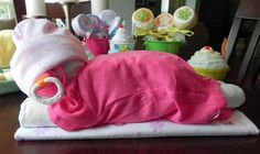 Sleeping Baby Diaper Cake baby blanket Bodysuit hat par BabyBinkz