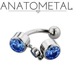 """3/8"""", 14ga Navel Dangle in ASTM F-136 titanium, Arctic Blue gemstones"""
