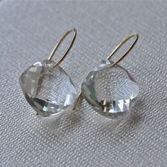 Clear Rock Quartz 14K Gold Earrings April by JLaurynDesign on Etsy, $98.00