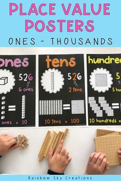 These place value posters make a practical learning display or anchor chart for your classroom. This printable place value posters come in units, ones, tens, hundreds and thousands, displaying how the base 10 number system works with MAB materials. Use to develop an understanding of how our number system works for kids {3rd Grade, 4th Grade, 5th Grade, 6th Grade, homeschool) #rainbowskycreations