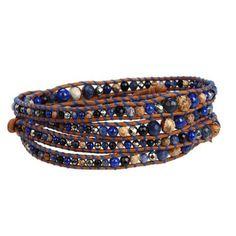 Chan Luu Graduated Lapis Mix Wrap Bracelet on Natural Brown Leather Bracelet - Multi