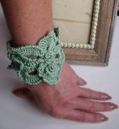 Free form crochet bracelet flower fantasy in warm by FiBreRomance, $17.00