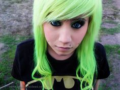 lime green hair--I'd never dye my hair this color but it's a cool shade!!