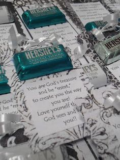 """""""You are God's treasure and He 'mint' to create you the way you are!"""" Chocolate mint and poem"""