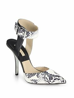 01d1d1c0cc5 Michael Kors Collection - Alanna Snakeskin   Leather Ankle-Strap Pumps