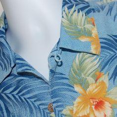 TOMMY BAHAMA Men's Size L 100% Silk Short Sleeve Camp Shirt EUC NICE! #TommyBahama #Hawaiian