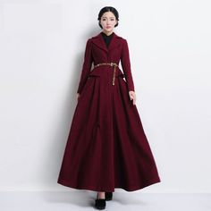 dcd3220b0e6a2 Winter Plus Size Long Wool Woolen Black Wine Red Basic Coats For Womens  Manteau Femme Overcoat Casacos Feminino Abrigos Invierno