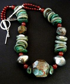 Faceted Jasper and Turquoise Nugget Necklace with Jade Rings, Carnelian Rounds, Coin Silver & Sterling