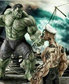 #Hulk #Fan #Art. (HULK VS POPEYE Small-Size) By: Omnitrix50. (THE * 5 * STÅR * ÅWARD * OF: * AW YEAH, IT'S MAJOR ÅWESOMENESS!!!™)[THANK Ü 4 PINNING!!!<·><]<©>ÅÅÅ+(OB4E)       http://photos03.wisgoon.com/media/pin/photos03/images/o/2016/10/30/23/1477856128993732.jpg