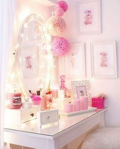 Adorable Makeup Table Idea 11 in 2020 My New Room, My Room, Light Pink Bedrooms, Princess Room, Princess Mirror, Pink Princess, Glam Room, Makeup Rooms, Pink Room