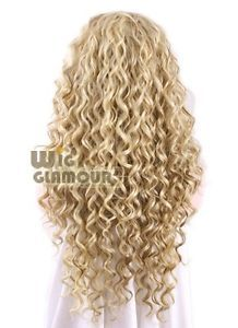 """Long Spiral Curly 26"""" Golden Blonde Mixed Brown Lace Front Wig Heat Resistant"""