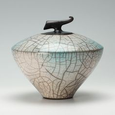 Green glazed lidded curling piece | Tim Andrews | Online Ceramics