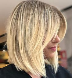 70 Winning Looks with Bob Haircuts for Fine Hair Fine Hair Bangs, Bob Haircut For Fine Hair, Long Hair With Bangs, Blonde Lob With Bangs, Medium Bob With Bangs, Blunt Haircut, Haircut Bob, Medium Hair Styles, Short Hair Styles
