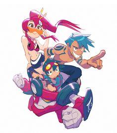 Tengen Toppa Gurren Lagann anime    Yoko Litnner, Kamina, and Simon