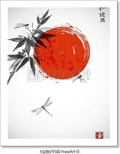 Bamboo branch, red sun and three dragonflies in Japanese style sumi-e. Free art print of Bamboo and dragonflies in Japanese style sumi-e. Japanese Ink Painting, Sumi E Painting, Japanese Watercolor, Japanese Drawings, Japan Painting, Japanese Tattoo Art, Japanese Prints, Painting Tattoo, Painting Abstract