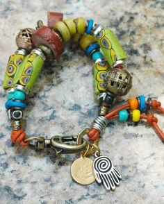 African Trade Bead Mixed Media Boho Tribal Charm Bracelet