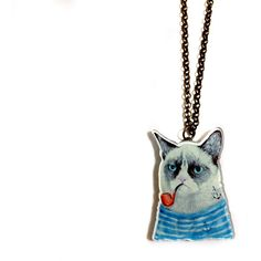 Grumpy Cat Smoking Pipe Sailor With Anchor Tattoo Cool Funny Acrylic... ($22) ❤ liked on Polyvore featuring jewelry, necklaces, anchor necklace, anchor charm, plastic charms, tattoo necklace and antique jewellery
