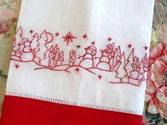 Redwork Snowman Hand Embroidery Linen Tea Towel Kit