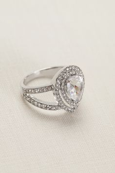 Stack your rings for extra sparkle | Pear Crystal Pave Ring